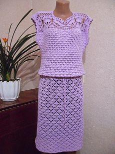 Мир хобби: Сиреневое платье (вязание крючком)