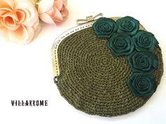 Bolso verde romántico, caqui, boda, bolso otoño, fiesta, bolso bohemio, clutch, boquilla plata, ganchillo, rosas verdes, hecho a mano