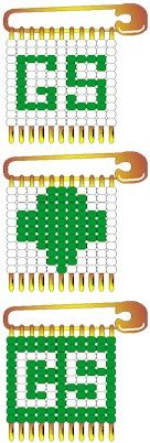 cc girl scout pins, could be adapted to say gg for girl guide. seed beads and safety pins.