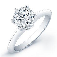 Five Carat Diamond Ring | Carat round cut diamond engagement ring SI F (GRA ...