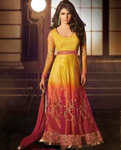 Shaded net ankle length anarkali suit   1. Yellow and pink shaded net anarkali suit 2. Yellow Yoke with  floral embroidered sleeves 3. Yellow pink shaded net flare with floral embroidery 4. Thread and bead floral embroidered border 5. Comes with matching bottom and chiffon dupatta