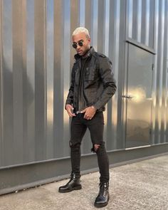 Black Hiking Boots, Autumn Boots, Goth, Bomber Jacket, Jackets, Men, Collection, Style, Fashion