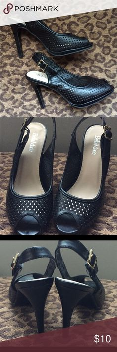 Black peeptoe stiletto heels💫 Lovely pair of black stiletto heels in size 6. Worn once, flawless condition. 4in. heel, lightweight, all man made materials. Shoes Heels