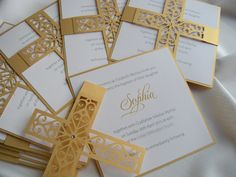 ~~~~ Samples ~~~~  Purchase this listing to order a sample set!  Sample sets include  1 Invitation 6 x 6 250 gsm 1 Invitation Envelope  pearl paper, laser cut cross cristal beads  Samples can be customized. Send me all details about Christening / Baptism. Ill make invitation with your information. Ships first class mail within 3 business days of ordering. Shipping time about 10 days ~~~~ Invitations ~~~~  1 Invitation 6 x 6 250 gsm 1 Invitation Envelope   Original handmade Christening In...