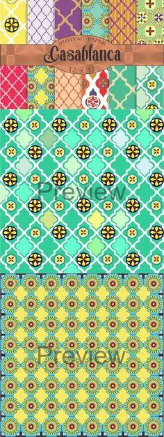Moroccan digital paper 'Casablanca'. Patterns