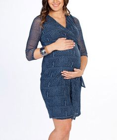 Loving this Angel Blue Net Maternity/Nursing Wrap Dress on #zulily! #zulilyfinds