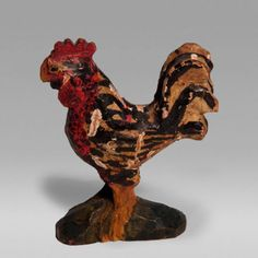 $ 7,500  Schimmel Rooster Origin United States, Pennsylvania  Creation Date 1870-90  Materials wood  Dimensions  H. 3 in;   H. 7.62 cm;  Condition Good. Some regluing  Description Folk art carved wood rooster on mount by Whilhelm Schimmel. Neat small size.