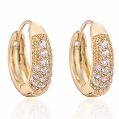 6mm Fashion Chic Design Inlaid Zircon Copper Earrings 18K Gold Plated Wedding Jewelry
