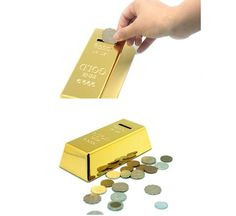 1 piece Gold Bullion Bar Piggy Bank Brick Coin Bank Saving Money Box - UrbanLifeShop