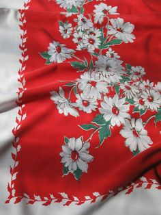 vintage cotton tablecloth / red and white floral by LuLusFrouFrou, $20.00