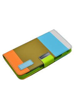 HHI Multi-Colored Design Wallet Case with Metallic Clasp for HTC One(M7) - Brown/Blue $10.99