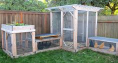 Backyard Garden With Chicken Coop Featured Planter And Wooden Fences : Creating Backyard Garden Chickens Chicken Fence, Mobile Chicken Coop, Chicken Coop Run, Portable Chicken Coop, Backyard Chicken Coops, Building A Chicken Coop, Chickens Backyard, Urban Chicken Coop, City Chicken