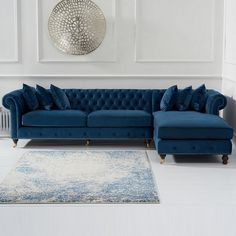 Nesta Chesterfield Right Corner Sofa In Blue Velvet And Wooden Legs, brings elegance and eye-catching design to every living room setting. Upholstered in Blue Velvet with Wooden legs. The blend of . Living Room Decor Blue Sofa, Blue Velvet Sofa Living Room, Corner Sofa Living Room, Corner Sofa Set, Living Room Sofa Design, Couch Design, Living Room Sets, Living Room Designs, Chesterfield Living Room