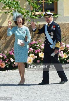 Queen Silvia of Sweden and King Carl Gustaf of Sweden arrives for Princess Leonore's Royal Christening at Drottningholm Palace Chapel on June 8, 2014 in Stockholm, Sweden.