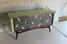Mid-Century Modern furniture gorgeously revamped by Lucy Turner, UK: parakeet sideboard