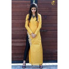 Bollywood Inspired- Designer Yellow Fancy Kurti - Apple Kurti