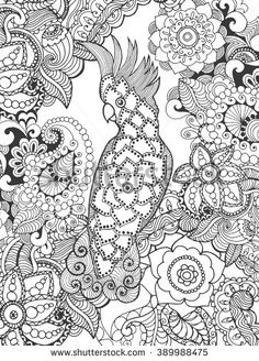 Cockatoo In Fantasy Flowers Animals Hand Drawn Doodle Ethnic Patterned Illustration African Tattoo PostersColouring PagesColoring BooksPattern