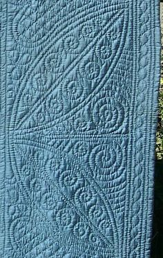 Beautiful petrol-blue Welsh wholecloth quilt with large heart motifs, spiral-filled leaves and paisley backing. Hand Quilting Patterns, Quilting Stencils, Quilting Thread, Machine Quilting, Quilting Projects, Old Quilts, Antique Quilts, Easy Quilts, Paisley Quilt