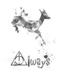 ART PRINT Doe Deer Severus Snape, Harry Potter illustration, Always Quote, Black and White Edition, Wall Decor, Home Decor