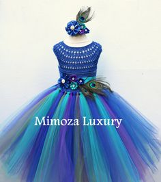 Peacock Royal Blue dress Peacock blue tutu dress by MimozaLuxury Crochet Tutu, Crochet Girls, Peacock Flower Girl Dress, Flower Girl Dresses, Flower Girls, Tutus For Girls, Girls Dresses, Pageant Dresses, Party Dresses