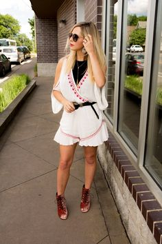 Click here to see this fall romper on Nashville Wifestyles! Cute romper outfit dressy shorts and romper outfit dressy shorts. Romper outfit dressy