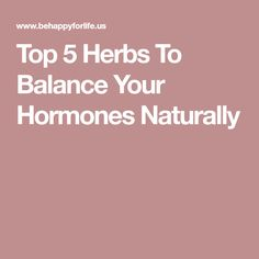 Top 5 Herbs To Balance Your Hormones Naturally
