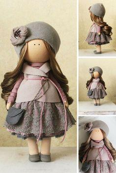 Tilda doll handmade purple grey pink colors Fabric doll Home doll Rag doll Decor…