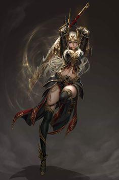 ArtStation - League of Angels - Origins, 신태섭-申泰蹑(Steve) 신 Dark Fantasy Art, Fantasy Girl, Chica Fantasy, Fantasy Female Warrior, Fantasy Art Women, Female Knight, Anime Fantasy, Fantasy Artwork, Female Art