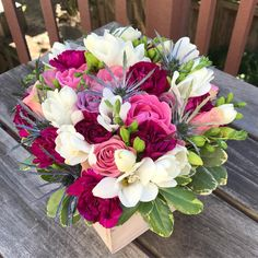 """Flowers for her sister """"Munchkin"""" who is turning 25 today. She is so proud of the woman she has become! Spring Flower Arrangements, Beautiful Flower Arrangements, Flower Centerpieces, Spring Flowers, Flower Decorations, Floral Arrangements, Floral Design Classes, Beautiful Rose Flowers, Luxury Flowers"""