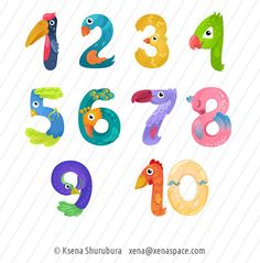 Numbers from one to zero like birds in fairy style by Ksena-Shu