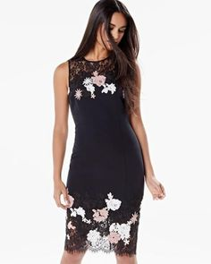 Shop online for Fitted sleeveless dress with lace and flower appliqué. Find Dresses, Sale, Women and more at Rwco Work Fashion, Fashion Outfits, Flower Applique, Lace Dress, Style Me, Special Occasion, Formal Dresses, How To Wear, Clothes