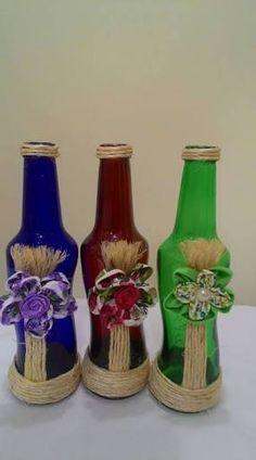 Wine Bottle Crafts – Make the Best Use of Your Wine Bottles – Drinks Paradise Glass Bottle Crafts, Diy Bottle, Bottle Art, Wrapped Wine Bottles, Bottles And Jars, Glass Bottles, Recycled Wine Bottles, Altered Bottles, Painted Wine Glasses