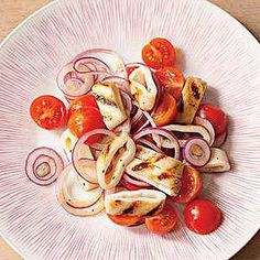 Grilled Calamari with Tomatoes and Onion -- 5 ingredients make a terrific appetizer or light dinner