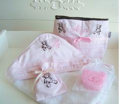 Ayıcıklı Banyo Seti - Pembe - Kidomino Aksesuar Tekstil Ürünleri - Bebek ve Çocuk Hediye