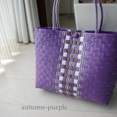 autumn・ライントート(パープル)~プラカゴ~|かごバッグ|drops.|ハンドメイド通販・販売のCreema