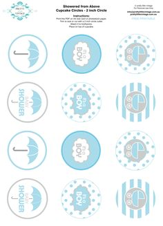 Free printable baby shower party circle tags cupcake toppers via Karas Party Ideas KarasPartyIdeas.com