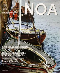 """Night of Artist - NOA - 2014 magazine with """"Boats of Portsoy ll"""" on the over by Memory Roth Artist - Painting Memories"""