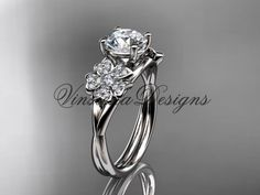 14kt white gold diamond Cherry Blossom flower, Sakura engagement ring VD8189