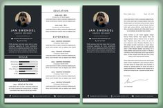Resume/CV and Cover Letter: Jan by Nonaglyph Design on Simple Cv Template, One Page Resume Template, Modern Resume Template, Resume Templates, Creative Cover Letter, Cover Letter For Resume, Cover Letter Template, Resume Cv, Business Resume