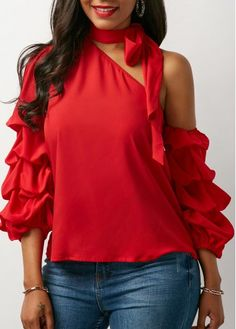 Women Blouse Designs, Women Blouses And Tops, Formal Blouses For Women Trendy Tops For Women, Blouses For Women, Blouse Styles, Blouse Designs, Shoulder Off, Casual Skirt Outfits, Mode Chic, Tie Neck Blouse, Red Blouses