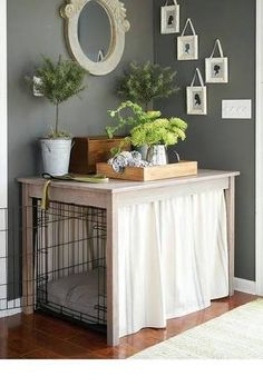 Embellish your dog& crate with this simple table, painted furniture. - Embellish your dog& crate with this simple table, painted furniture, pets, … - Dog Crate Table, Dog Crate Furniture, Diy Dog Crate, Painted Furniture, Diy Furniture, Furniture Design, Dog Crate Cover, Crate Seating, Indian Furniture