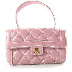 This is an authentic CHANEL Leather Quilted Flap Handbag Pink.   This chic handbag is finely crafted of smooth diamond quilted pink leather with a decorative white stitch.