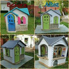 Little tikes playhouse makeover. Little Tikes Playhouse, Kids Indoor Playhouse, Backyard Playhouse, Build A Playhouse, Plastic Playhouse, Playhouse Kits, Simple Playhouse, Playhouse Decor, Backyard Playset