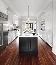 If you are having a sleek and modern theme kitchen in your house, you might need to have some of these best galley kitchen ideas. There are a lot of design ideas you can take as inspiration in this article. Luxury Interior Design, Home Interior, Home Design, Design Ideas, Design Inspiration, Monochrome Interior, Interior Decorating, Kitchen Inspiration, Black Kitchen Island