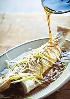 Steamed whole fish with ginger, spring onions and soy recipe