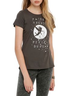 """Fitted charcoal grey tee from Disney's Peter Pan with a Tinker Bell silhouette """"Faith Trust & Pixie Dust"""" design."""