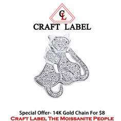 """1/12 Ct Round Brilliant Cut White Diamonds 14K Gold Mom And Baby Cat Pendant Without Chain """"Mother\'s Day Gift"""". Starting at $1"""