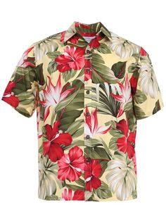 5813ca8e5 Anuenue Hibiscus Paradise Yellow Cotton Men's Hawaiian Shirt | AlohaOutlet