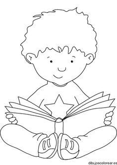 Dibujo de un niño leyendo un libro | Dibujos para Colorear