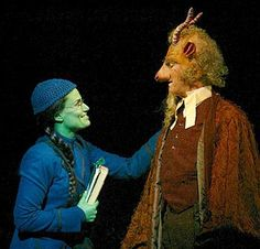 Idina Menzel (Elphaba) and William Youmans (Doctor Dillamond) in the original Broadway production.